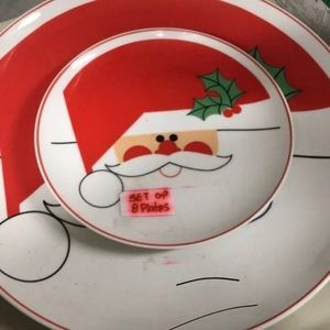 Santa Claus Serving Plate W/8 Small Plates